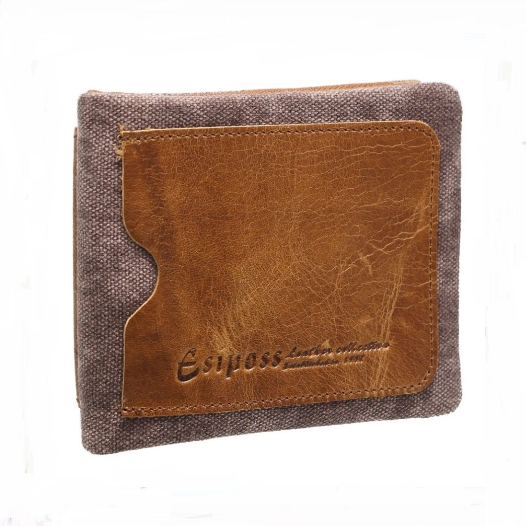 Облегчённый бумажник «Esiposs» из комбинации натуральной кожи и ткани купить. Цена 775 грн