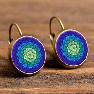 Круглые серьги «Lotus Charm» яркой расцветки в металле под античное золото купить. Цена 125 грн