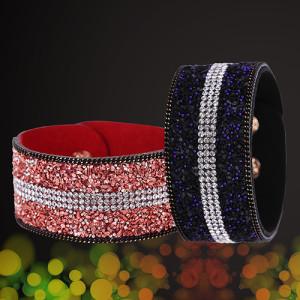 Необычные браслеты «Млечный путь» в виде широкой ленты с полосой из мелких страз купить. Цена 135 грн или 425 руб.