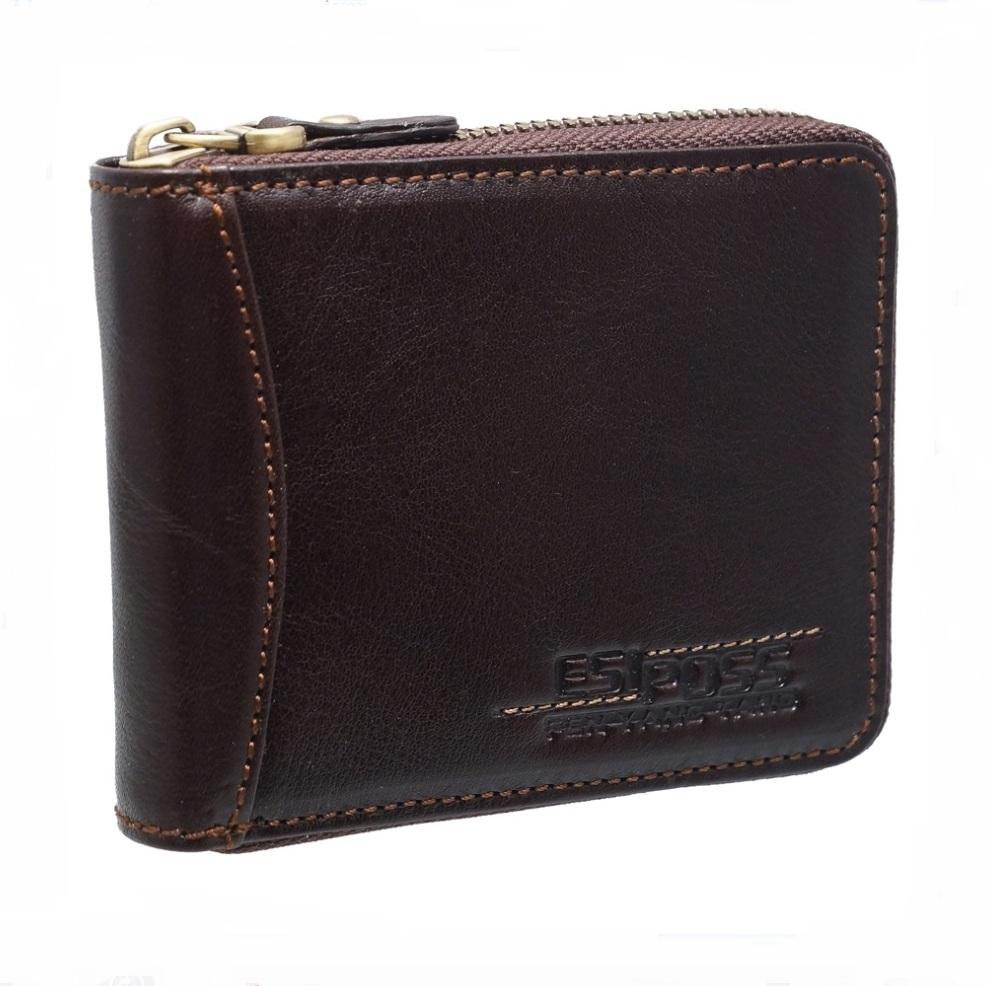 Отличный мужской бумажник «Esiposs» на молнии из гладкой натуральной кожи купить. Цена 575 грн