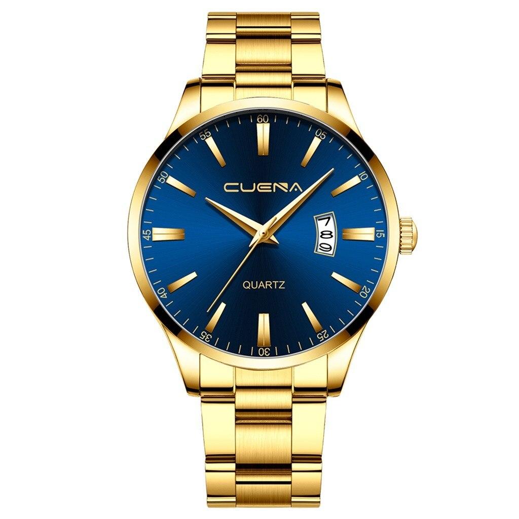 Массивные часы «Cuena» с синим циферблатом и золотым металлическим браслетом купить. Цена 499 грн