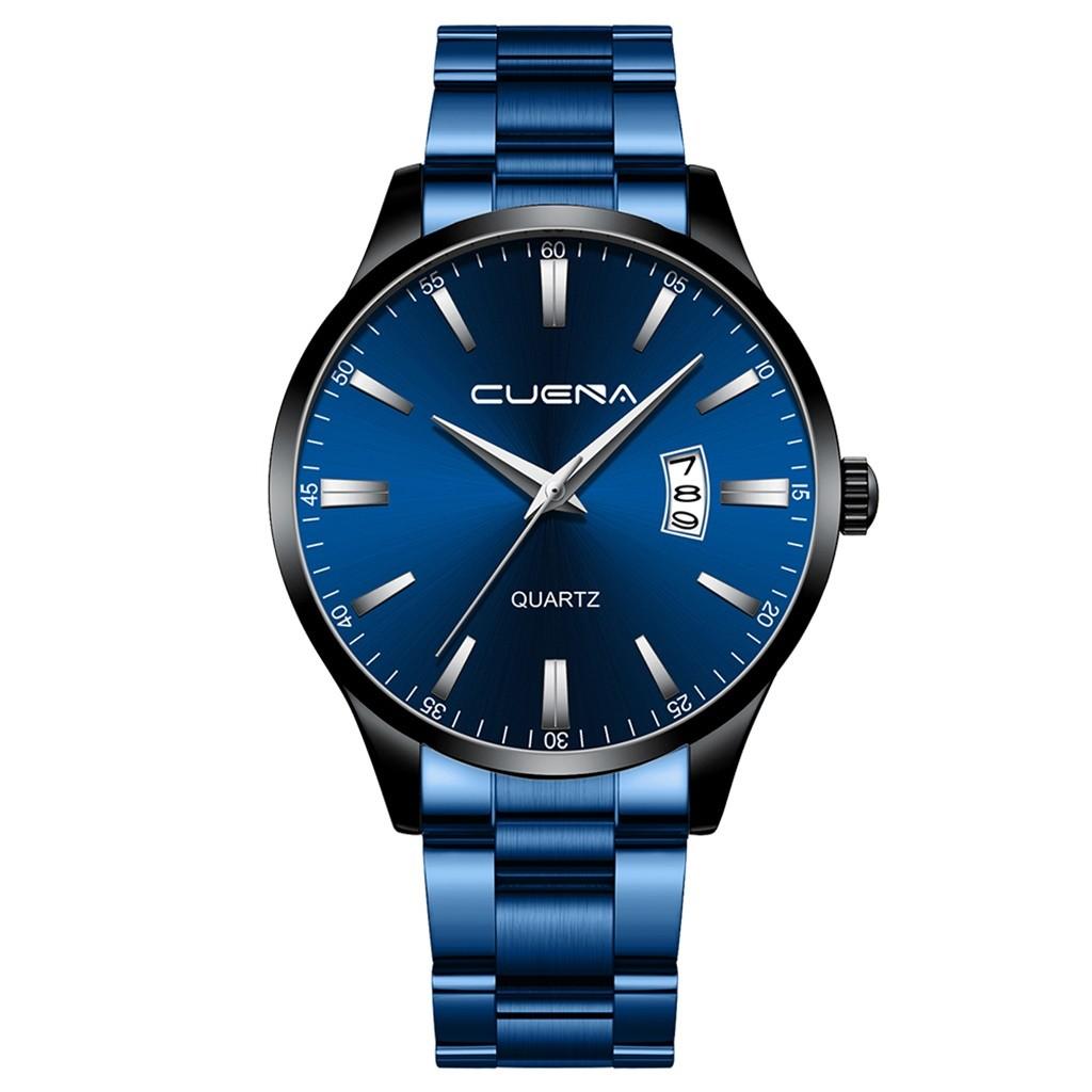 Отличные мужские часы «Cuena» с чёрным корпусом и синим металлическим браслетом купить. Цена 499 грн