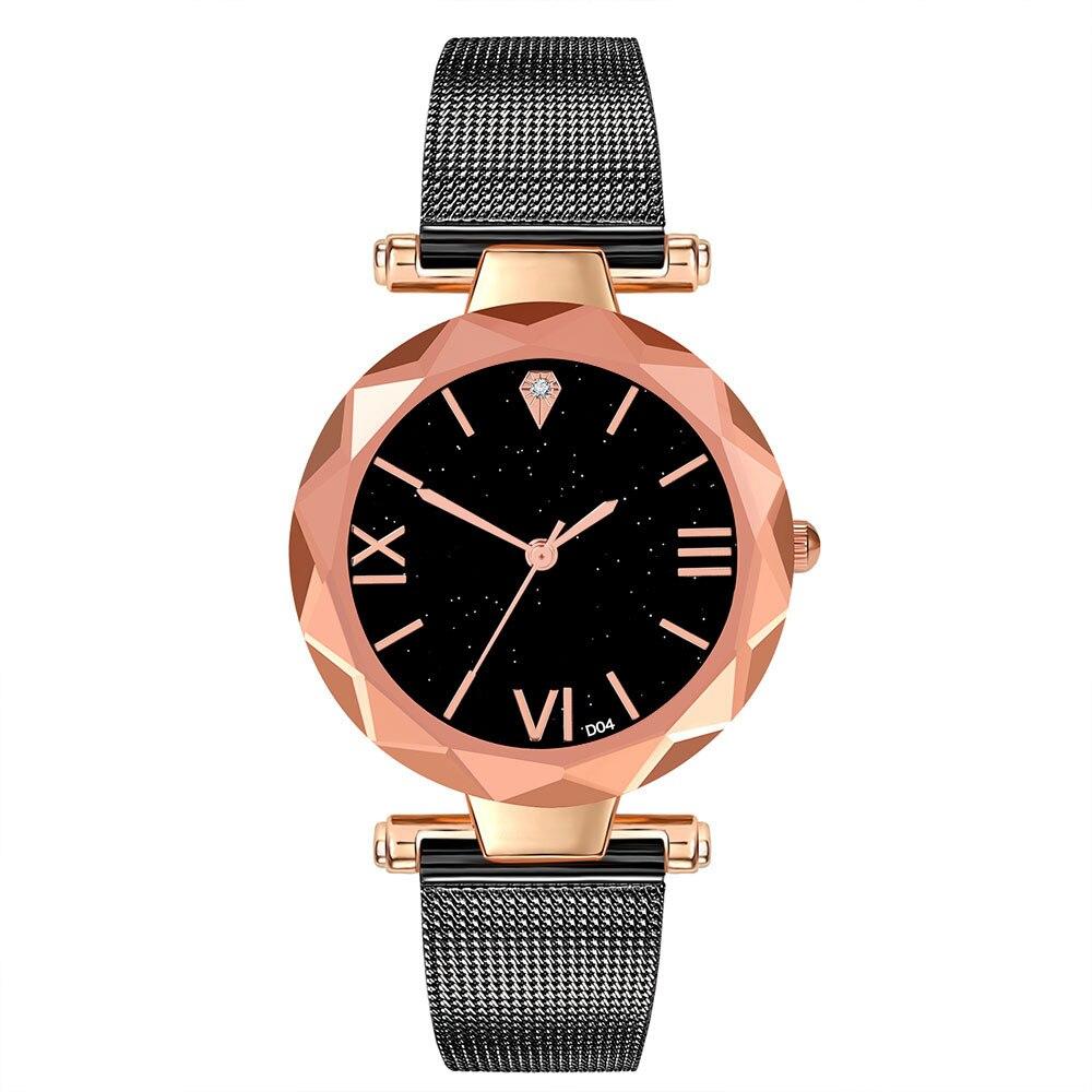 Стильные часы «Geneva» с золотым корпусом и чёрным металлическим ремешком купить. Цена 290 грн