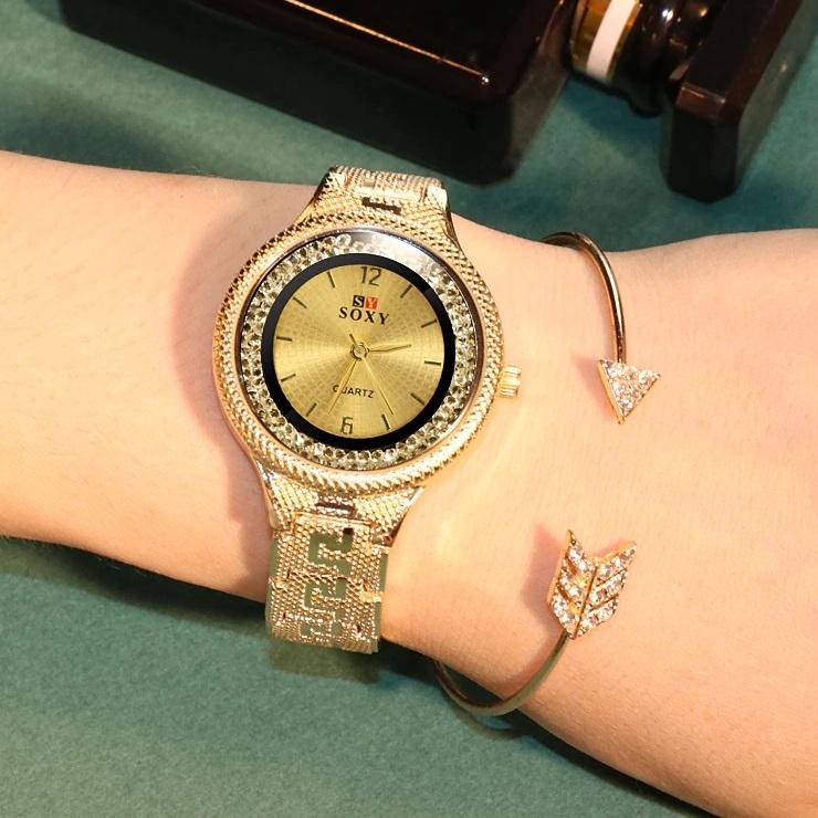 Отличные часы «SOXY» с корпусом из жёлтого металла с красивым браслетом купить. Цена 399 грн