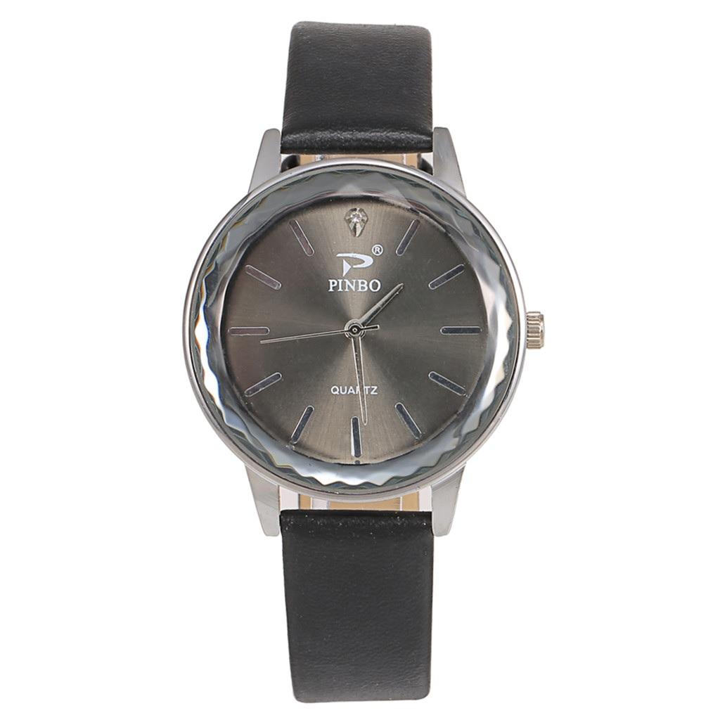 Круглые часы «Pinbo» с гранённым стеклом и гладким чёрным ремешком купить. Цена 275 грн