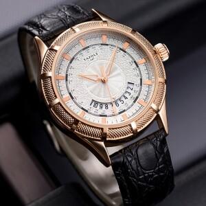 Кварцевые часы «Yazole» с чёрным ремешком и золотыми метками на белом циферблате купить. Цена 465 грн