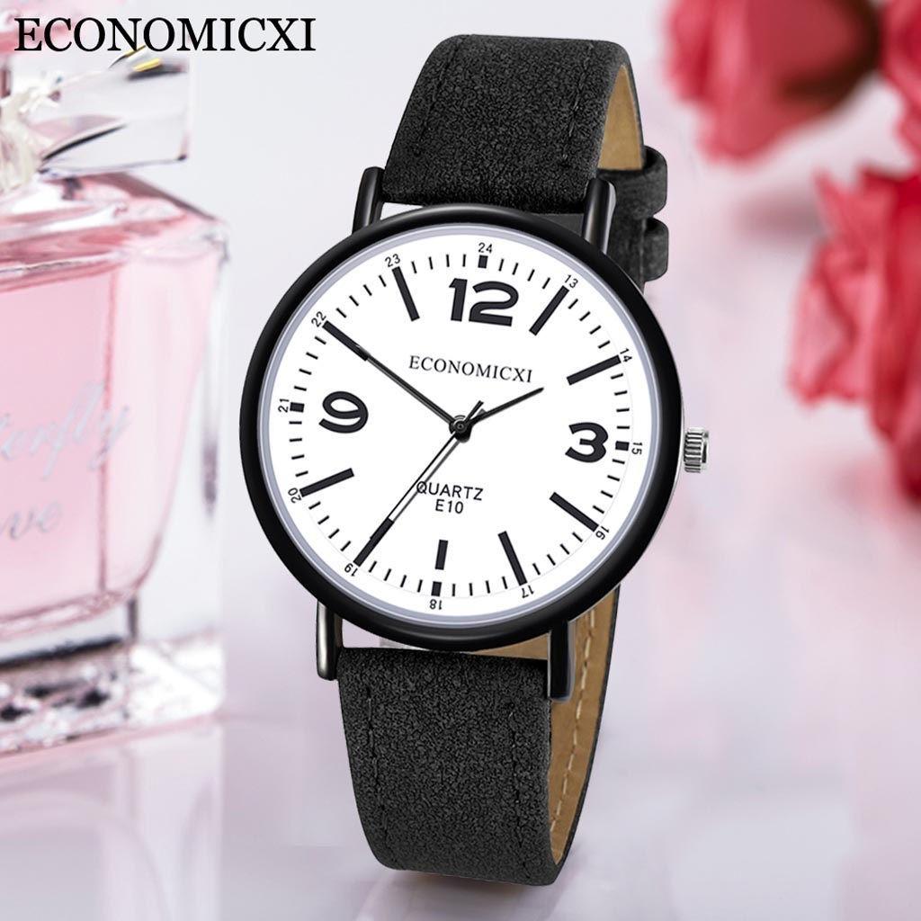 Тонкие кварцевые часы «Economicxi» чёрного цвета с белым циферблатом купить. Цена 275 грн