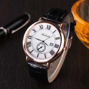 Аристократичные часы «Faleidu» с крупными римскими цифрами, синими стрелками и чёрным ремешком фото. Купить