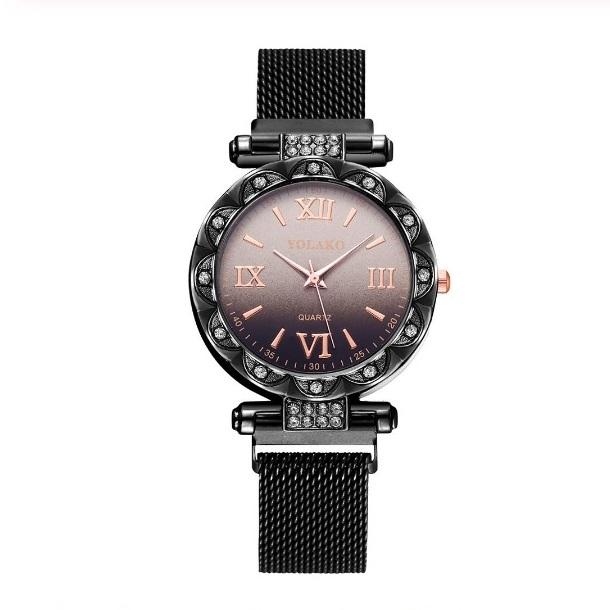 Замечательные женские часы «Yolako» чёрного цвета с ремешком-кольчугой на магните купить. Цена 375 грн