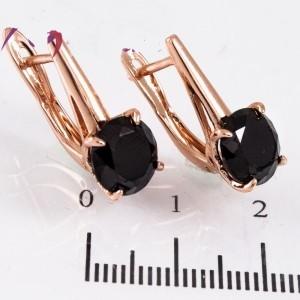 Лаконичные серьги «Гарда» с чёрным камнем и золотым напылением купить. Цена 165 грн