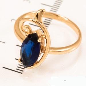 Стильное кольцо «Флоренция» с крупным синим цирконом и позолотой купить. Цена 175 грн