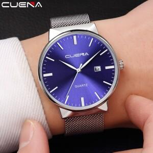 Красивые мужские часы «Cuena» лаконичного дизайна с ремешком-кольчугой купить. Цена 399 грн