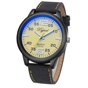 Крупные мужские часы «Dgjud» с жёлтым циферблатом в чёрном корпусе купить. Цена 250 грн