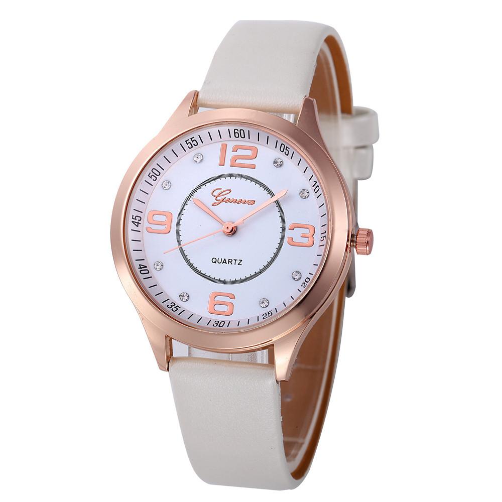 Миловидные часы «Geneva» классических форм с белым ремешком купить. Цена 255 грн