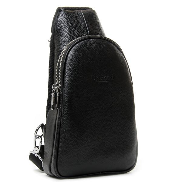 Гладкая сумка-слинг «Dr.Bond» из чёрной зернистой натуральной кожи купить. Цена 1175 грн