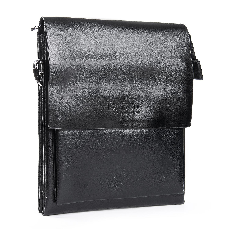 Лаконичная мужская сумка «Dr.Bond» из гладкой экокожи чёрного цвета купить. Цена 585 грн