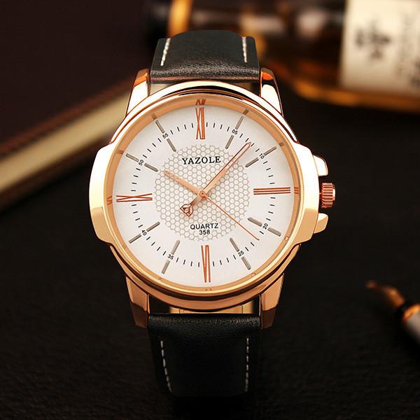 Большие часы «Yazole» в классическом стиле с чёрным ремешком купить. Цена 299 грн
