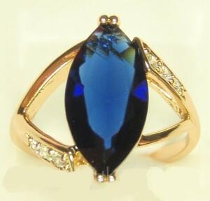 Крупное кольцо «Амбассадор» с большим синим камнем и золотым напылением купить. Цена 199 грн