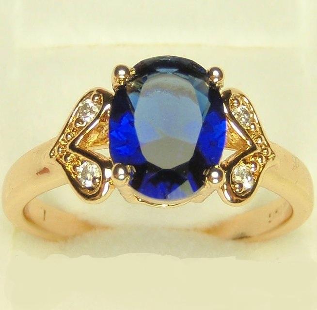 Дамское кольцо «Рембранд» с синим фианитом в красивой позолоченной оправе купить. Цена 175 грн