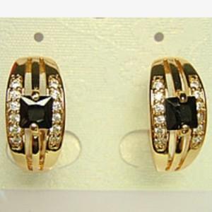 Повседневные серьги «Помпеи» с чёрным квадратным камнем и золотым напылением фото. Купить