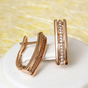 Узкие серьги «Иветта» с полосой из фианитов и покрытием из розового золота фото. Купить