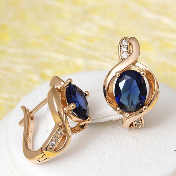 Прекрасные серьги «Мелодия» с синим цирконом в оправе с золотым покрытием купить. Цена 175 грн