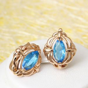 Милые серьги «Алтарь» с овальным камнем голубого цвета в позолоченной оправе купить. Цена 165 грн