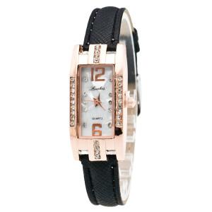 Маленькие прямоугольные часы «Luobos» с чёрным ремешком и белым циферблатом фото. Купить