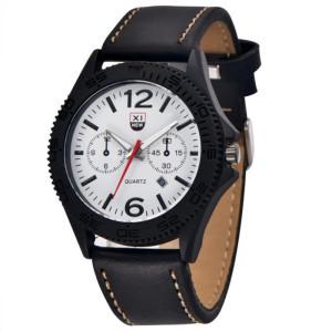 Серьёзные часы «XINEW» с чёрным корпусом, белым циферблатом и ремешком чёрного цвета фото. Купить