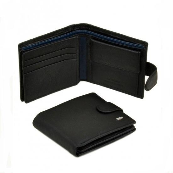 Практичный бумажник «Dr.Bond» из качественной чёрной кожи с синей вставкой купить. Цена 599 грн