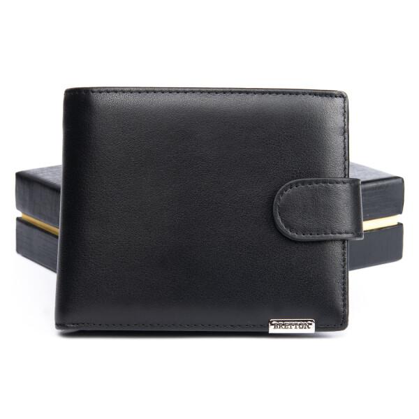 Элитный мужской бумажник «Bretton» из высококачественной чёрной кожи купить. Цена 890 грн