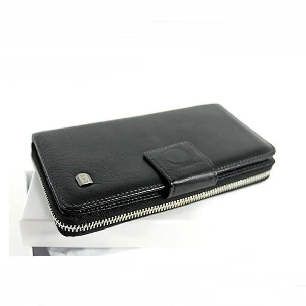 Аккуратный мужской клатч «Anil» компактного размера из мягкой чёрной кожи купить. Цена 1499 грн
