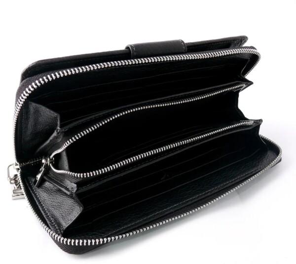 Аккуратный мужской клатч «Anil» компактного размера из мягкой чёрной кожи фото 2