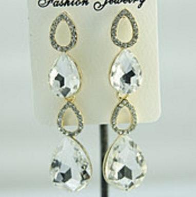 Большие серьги «Юбилей» с крупными белыми камнями в оправе из жёлтого металла купить. Цена 175 грн