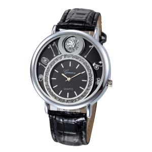 Крупные часы «Geneva» с серебристым корпусом и чёрным циферблатом купить. Цена 265 грн