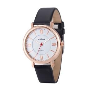 Недорогие красивые часы «Malloom» классической формы с чёрным ремешком купить. Цена 185 грн