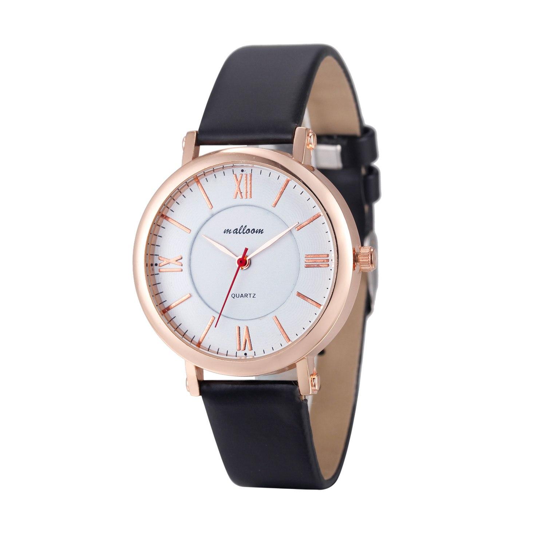 Недорогие красивые часы «Malloom» классической формы с чёрным ремешком купить. Цена 245 грн