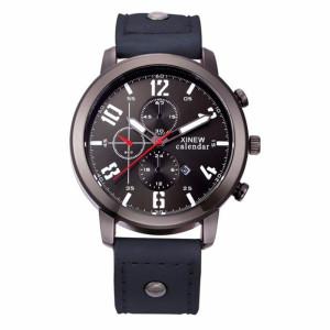Чёрные мужские часы «XINEW» в городском стиле на чёрном ремешке фото. Купить