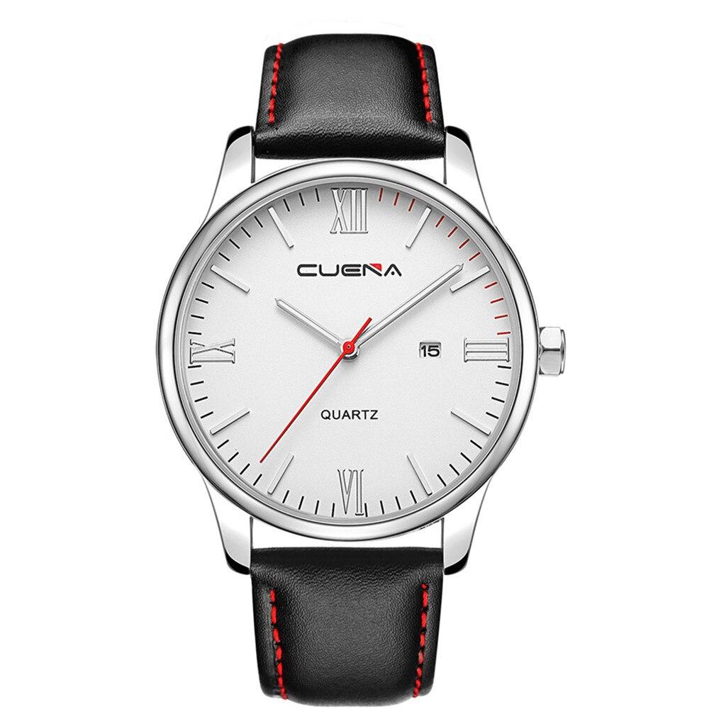 Изысканные часы «Cuena» с круглым серебристым корпусом и мягким чёрным ремешком купить. Цена 390 грн