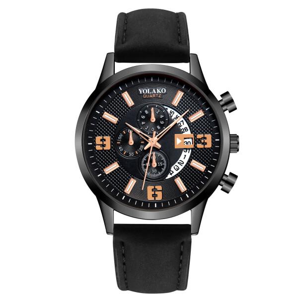 Красивые мужские часы «Yolako» чёрного цвета с кварцевым механизмом с датой купить. Цена 390 грн