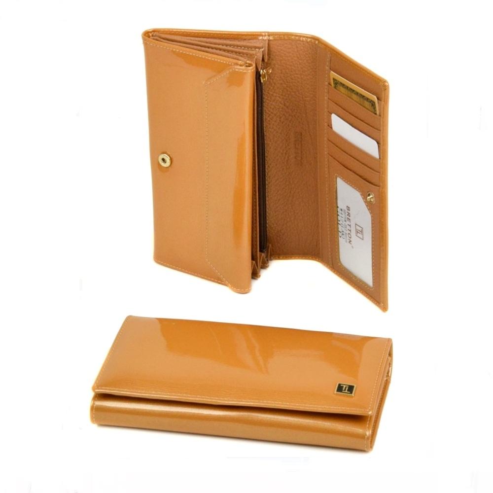 Облегчённый кошелёк «Bretton» золотого цвета из натуральной лаковой кожи купить. Цена 799 грн