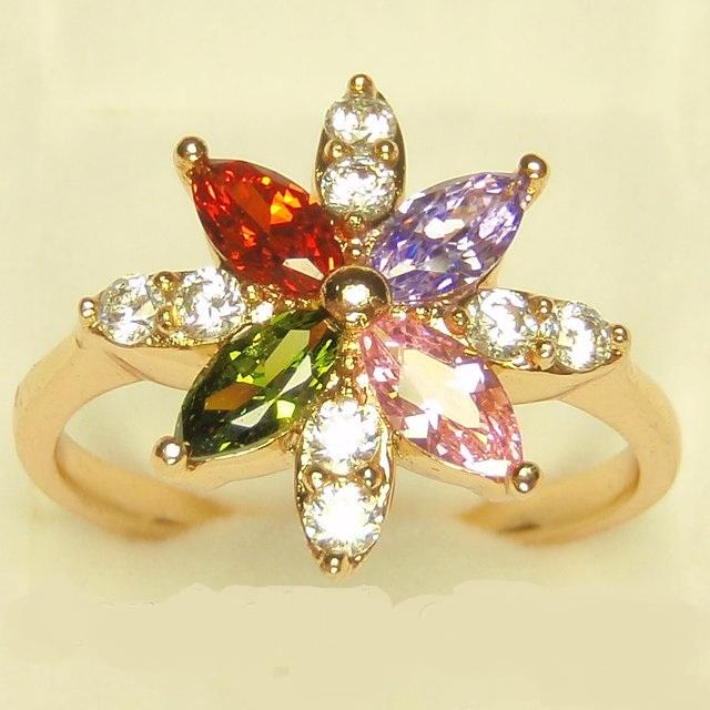 Цветное кольцо «Семицветик» в форме цветка из фианитов в позолоте купить. Цена 155 грн