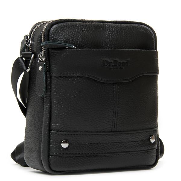 Качественная мужская сумка «Dr.Bond» из чёрной кожи с естественной текстурой купить. Цена 985 грн