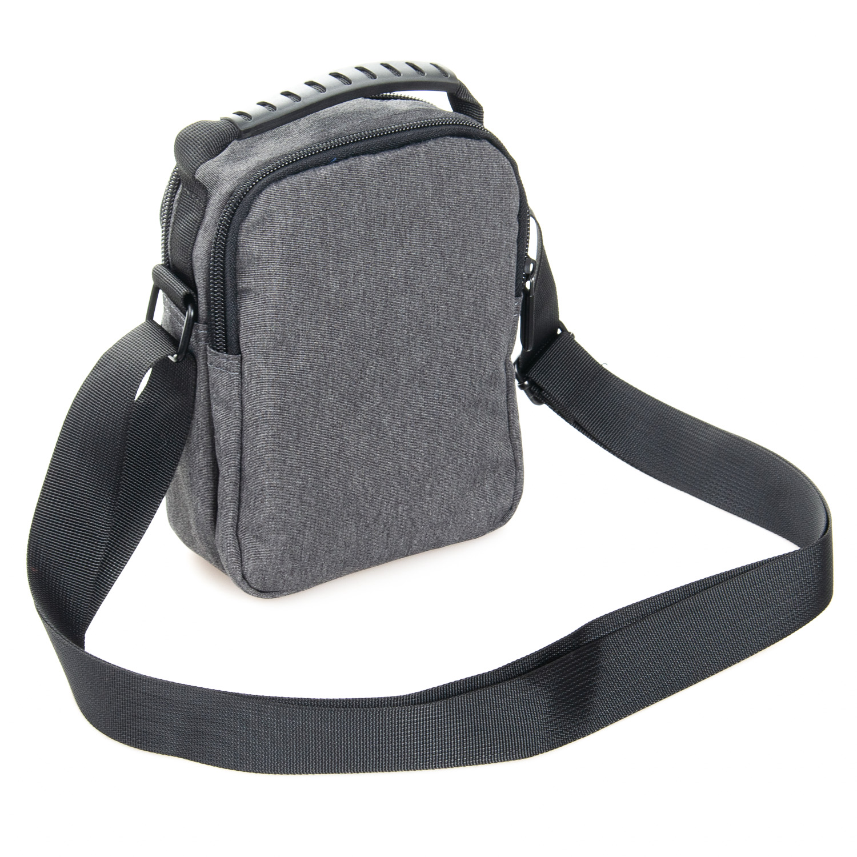 Качественная сумка «Lanpad» из серого нейлона с ручкой и длинным ремешком фото 1