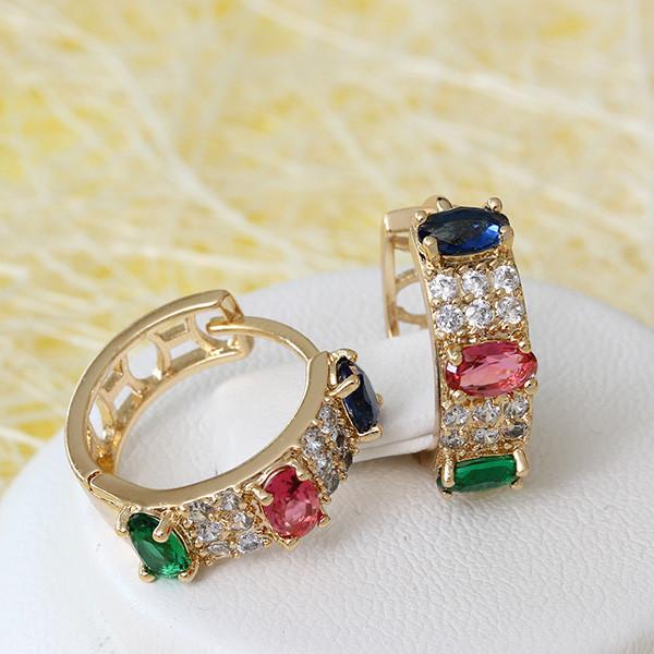 Разноцветные серьги-колечки «Палитра» с цветными цирконами и розовой позолотой купить. Цена 235 грн