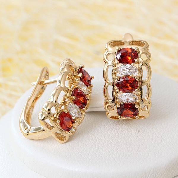 Позолоченные серьги «Рената» с красными и белыми цирконами купить. Цена 190 грн