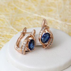Миленькие серьги «София» с синим овальным камнем и золотым покрытием купить. Цена 165 грн