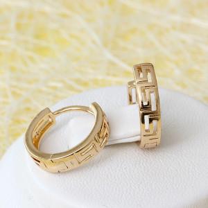 Греческие серьги «Софокл» в виде колец без камней с покрытием из розового золота фото. Купить