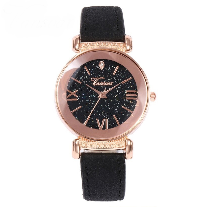 Современные часы «Vansvar» с циферблатом «звёздное небо» и чёрным ремешком купить. Цена 299 грн