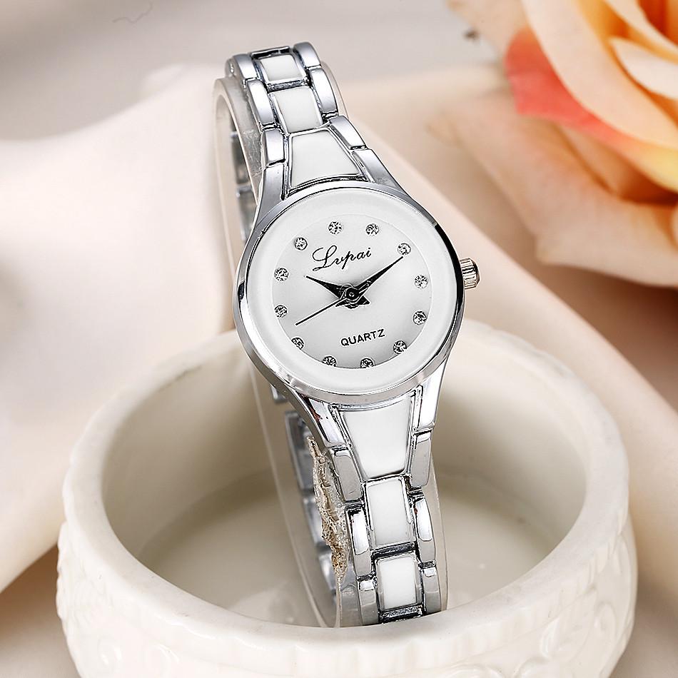Симпатичные часы «Lupai» с узким браслетом белого и серебряного цвета купить. Цена 299 грн